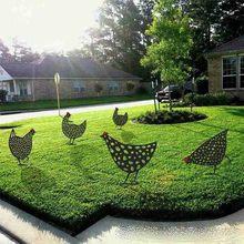 Huhn Hof Kunst Garten Statuen Hinterhof Rasen Stakes Kunststoff Ente Henne Yard Decor Geschenk Garten Dekoration Im Freien Garten ornamente