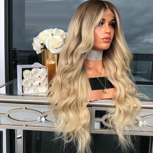 4T/613 Two Tone Ombre Blonde Natural Wave Human Hair Wig 13×6 Lace Glueless Wigs Pre Plucked Bleached Knots