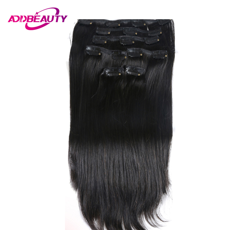 Ali Queen 70g 100g 120g Clip In Human Hair Extensions Brazilian Remy Straight #1 #1B #4 #8 #613 #27 12-24inch 7PC/Set Full Head