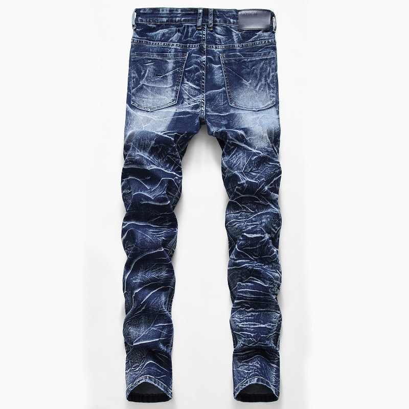 Neve Lavato Patchwork Diritti degli uomini Dei Jeans Elastici Più Il Formato Dell'annata di Patch Slim Denim Jeans Lungo Bianco Da Uomo In Cotone Jean pantaloni