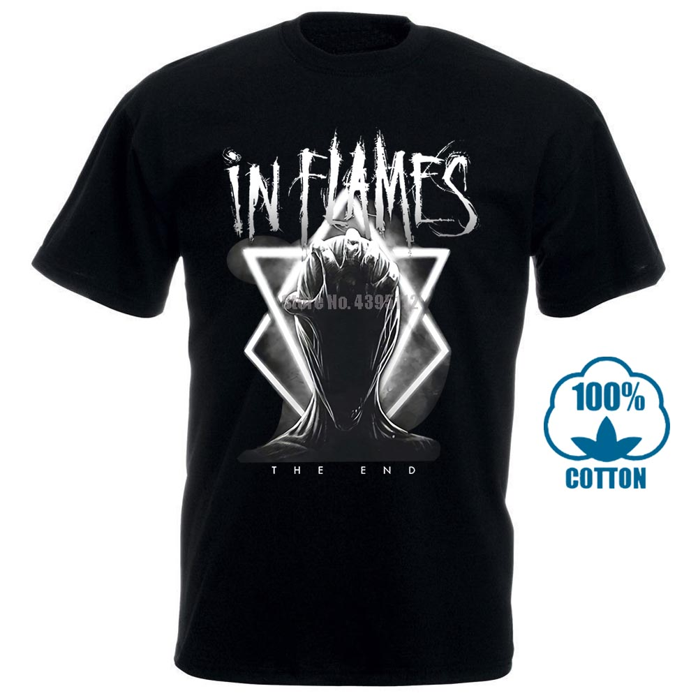 In Flames Think About The End T Shirt Black Loose Cotton T Shirts For Men Cool Tops T Shirts