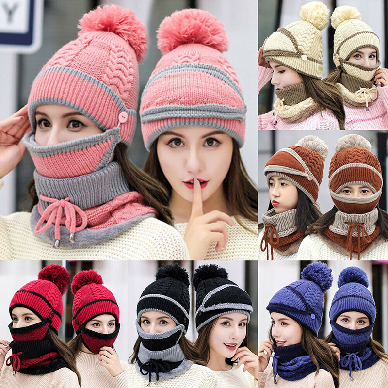 Women Knitted Beanie Scarf Hat Face Mask Set Snood Neck Winter Pompom Cap Thicken -OPK
