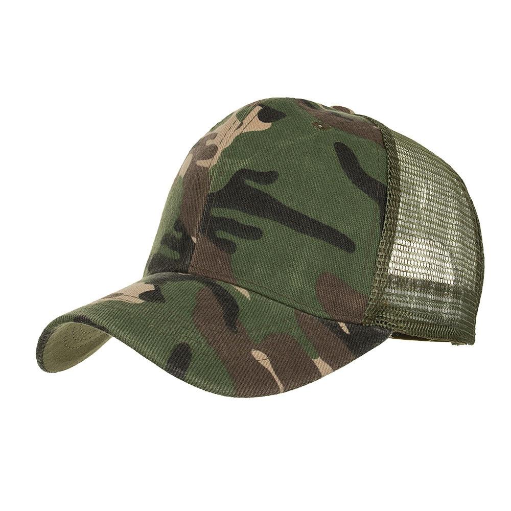 Gorra de béisbol de cola de caballo de camuflaje, sombreros desordenados para moño para mujeres y hombres, Gorras con visera informal de verano, gorra para exteriores, Gorras, gorra