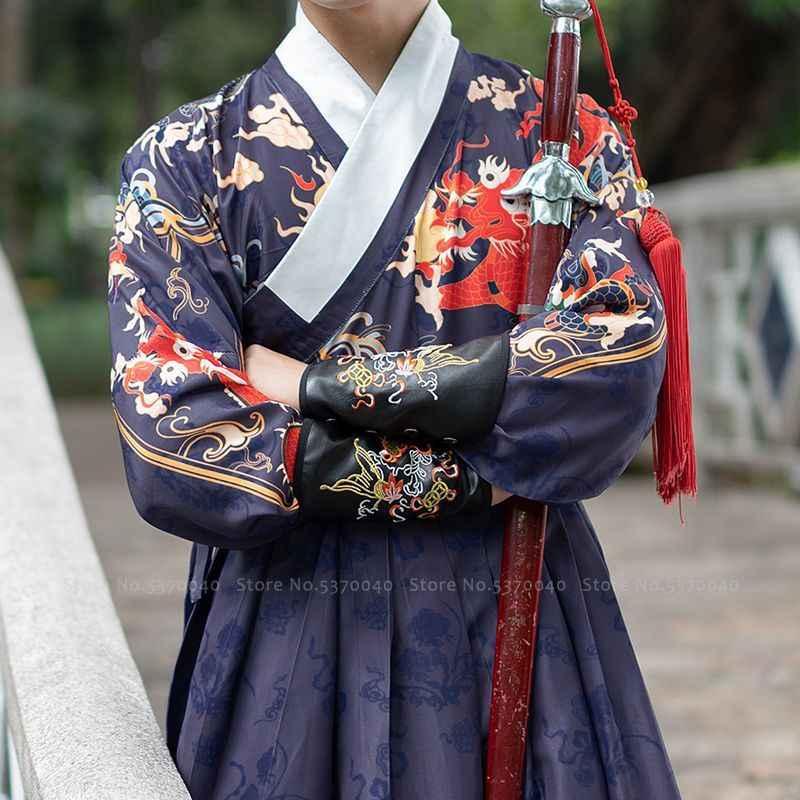 סיני מסורתי מינג שושלת גברים Hanfu שמלת הדרקון הדפסת חליפת טאנג Hanbok קוריאני חלוק נסיך לוחם Cosplay תלבושות