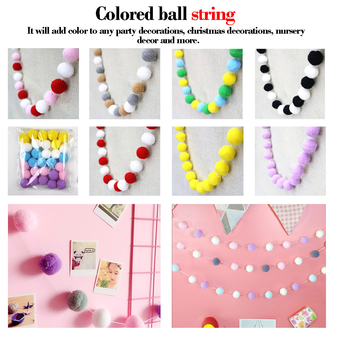 2M Handmade Macaron Colored Ball Decoration With Balls Baby Kids Tent Room Decor Accessory Wall Hanging Pendant