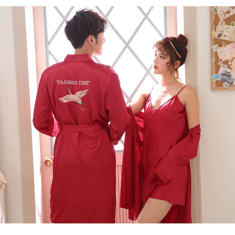 Couple Robes Pajamas Sexy Pajamas Couple Fashion Nightdress Kimono Bathrobe Gown Men's And Women's Pajamas
