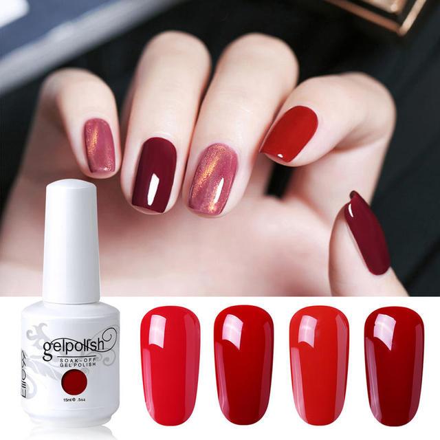Elite99 15ml Wein Rot Farbe Gel Nagellack Semi Permanent Emaille UV Nägel Lack Gel Lack Tränken Weg Nagel kunst Gel Polnisch