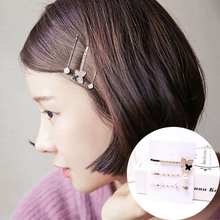 Fashion Women Crystal Pearl Hair Clips Barrettes Love Round Girls Accessories hairpins for women Headdress 3PCS/Set