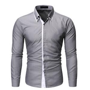 Image 3 - Новинка, мужская повседневная рубашка, высокое качество, сочетающиеся цвета, лацканы, длинный рукав, белая, светская, рубашка, тонкая, Мужская Уличная одежда, рубашка