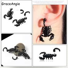 2pcs Scorpion Stud Earring Funny Earrings Male Titainum Steel Jewelry Animal Punk Funny Hollowen Holiday Gift Black Metal(China)