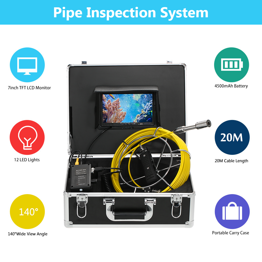 Pesca Fishing Finder 20M Drain Pipe Sewer Inspection Camera IP68 Fishing Camera 7