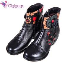цены на Glglgege Winter New Fashion Women Shoes Woman Flower Genuine Leather Ankle Boots Female Casual Soft Platform Vintage Ladies Boot в интернет-магазинах