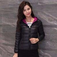 Модные двухсторонние тонкие пуховики женские повседневные короткие однотонные свободные пальто с капюшоном корейские женские осенние зим...
