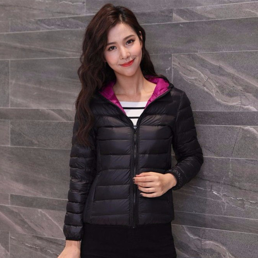 Fashion Double-sided Wear Thin Down Jackets Women Casual Short Solid Hooded Loose Coats Korean Female Autumn Winter Warm Parkas