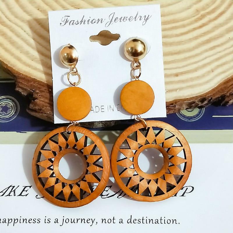 The new 2019 euramerican popularity African wood long pendant earring fashion style restoring ancient ways women earrings