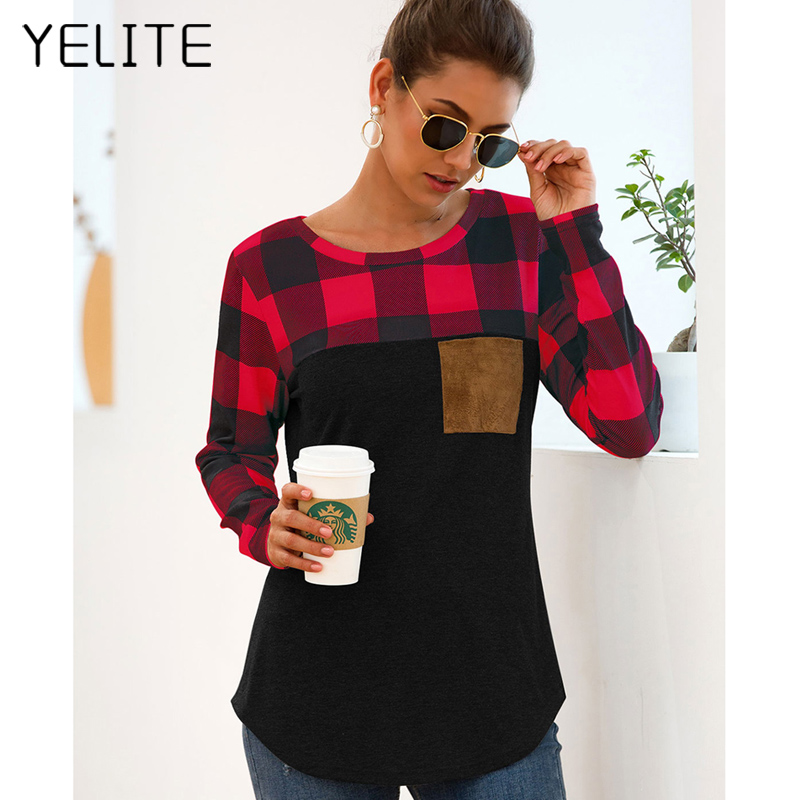 Fashion Plaid Tshirt T Shirt Long Sleeve Women Clothes Color Block Tunic Camisetas Pocket Tops Casual Grid Top Tee Plus Size