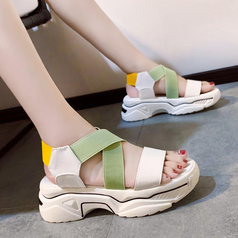 Casual Candy Colors Stretch Fabric Platform Wedge Sandals Women Shoes Summer Hollow Open Toe Sport Sandals Women Beach Shoes
