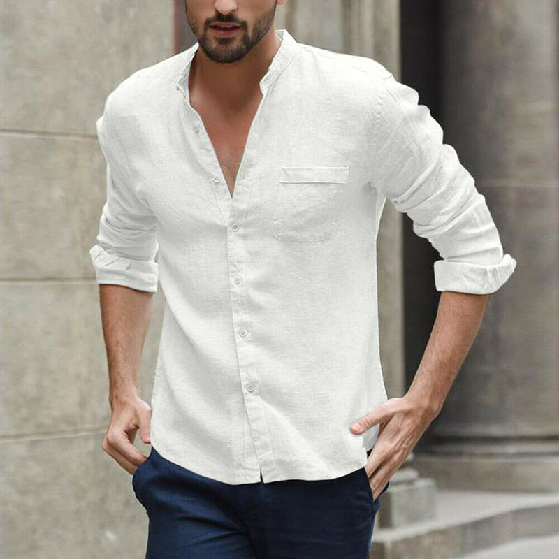 Men's Fashion Shirts Social Slim Fit Male Hawaiian Long Sleeve Casual Clothing Streetwear Cotton Linen Button Blouse Black&white