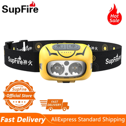 Supfire HL05-S Powerful Headlamp Fishing Camping Tourism LED Lantern With Motion Sensor USB Rechargeable Waterproof Headlights