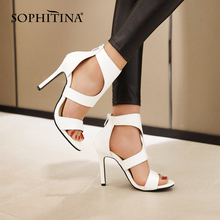 SOPHITINA Women High Heeled Sandals Sexy Hollow Out Summer Open Toe Stiletto Thin Heel Female Dress Shoes with Rear Zipper PO677 2017 summer women sexy gold chains strappy open toe stiletto heel nightclub party high heel sandals dress shoes ladies