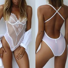 Women's Sexy Lingerie Lace Bodycon Dress Babydoll Underwear Nightwear Sleepwear Bodysuit Leotard Robe Lenceria Body Suit(China)