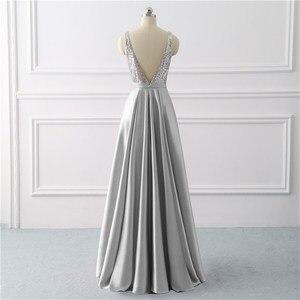 Image 2 - Beleza emily sequined uma linha cinza vestidos de noite 2020 longo decote em v vestidos de noite formais festa de formatura formal vestidos de festa