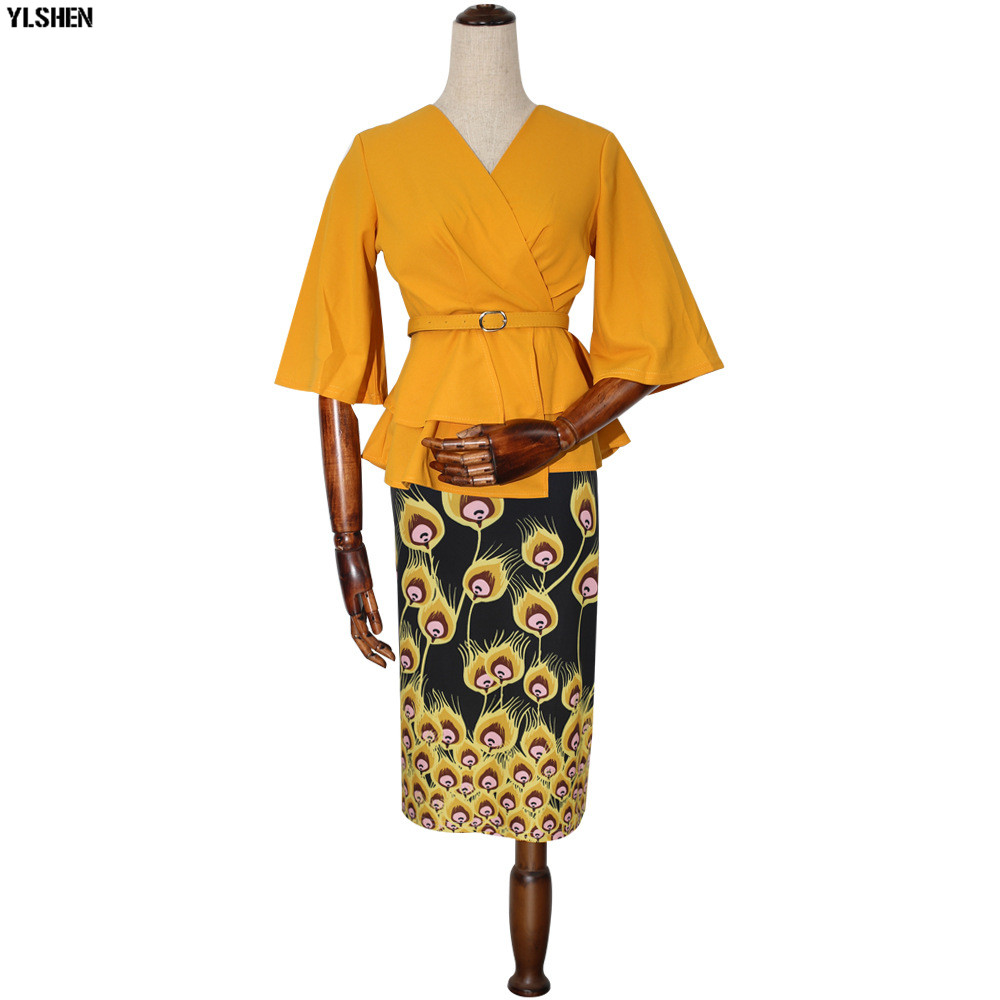 New Style African Dresses for Women Dashiki Print African Skirt Clothes Ankara Dress Bazin Rich Robe Boubou Africaine Femme 2019 07