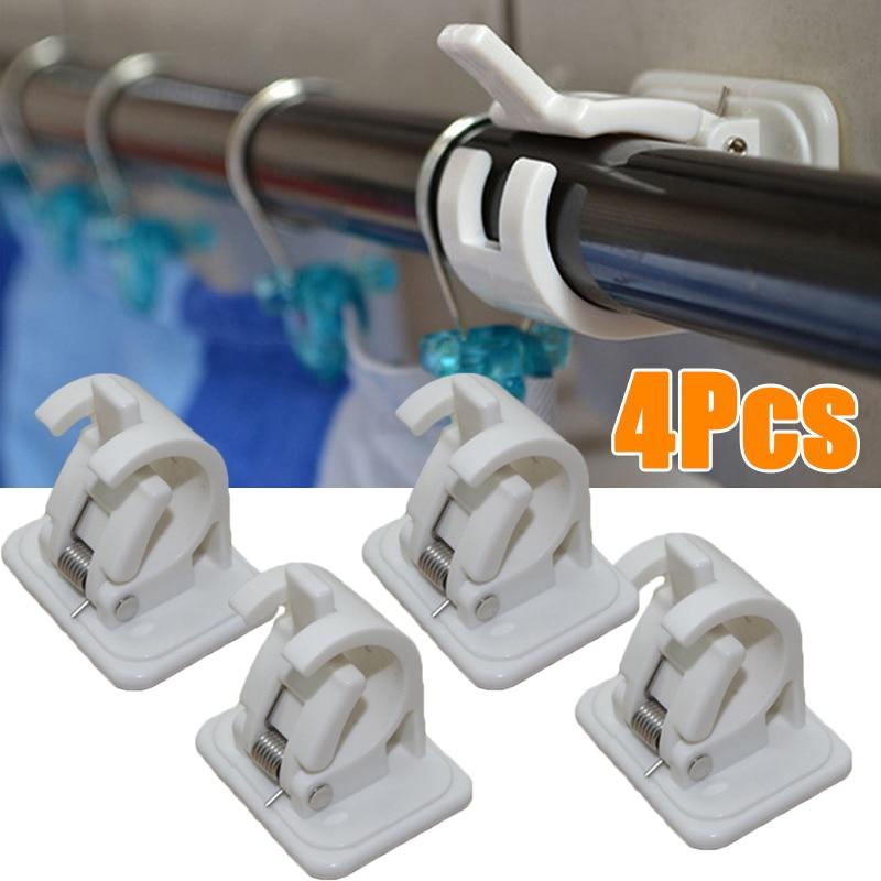 2/4 Pcs Rails Rod Bracket Support Plastic Stick Hanger Clamp Window Frame Curtain Rods Bracket Hangers For Home Decoration