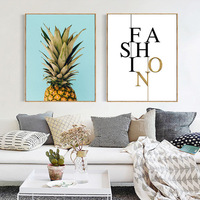 Foreign Trade New Style Hot Sales Northern European Style Modern Minimalist Pineapple Lettered Combination Poster Living Room CH