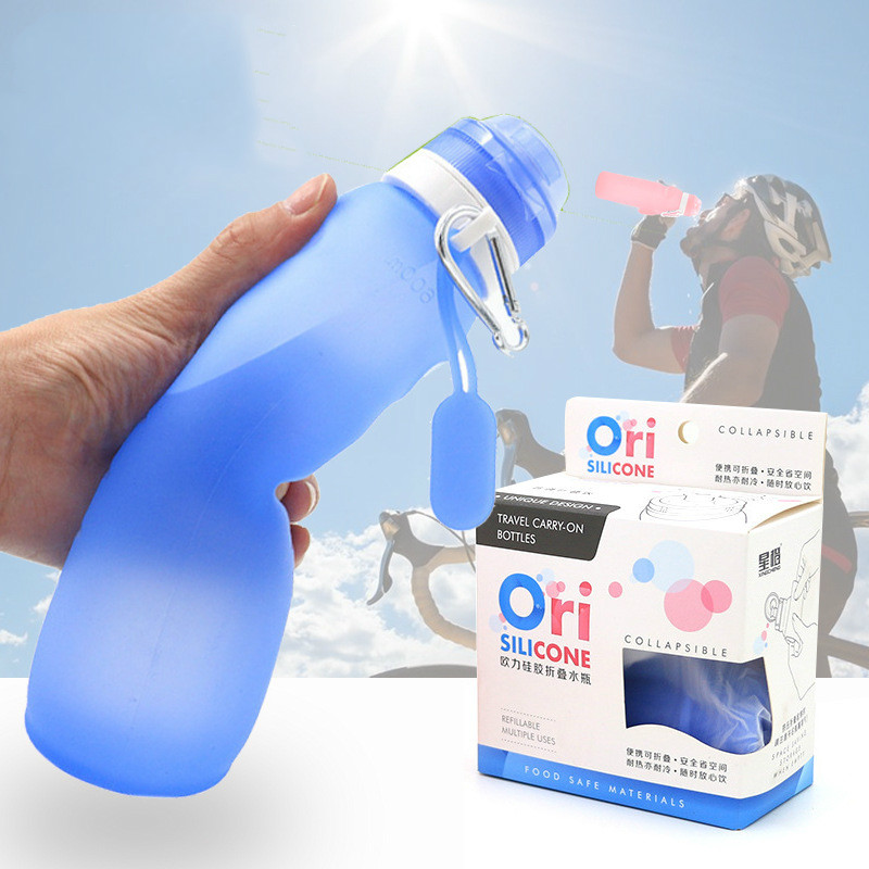400ml 600ml collapsible silicone kettle portable water bottle hook leakproof outdoor sports leak proof