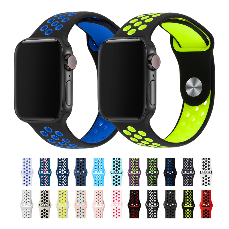 Sport Band For Apple Watch Band 38mm 40mm 42mm 44mm Silicone Replacement Bracelet Watch Strap For IWatch Series 4/3/2/1 81010