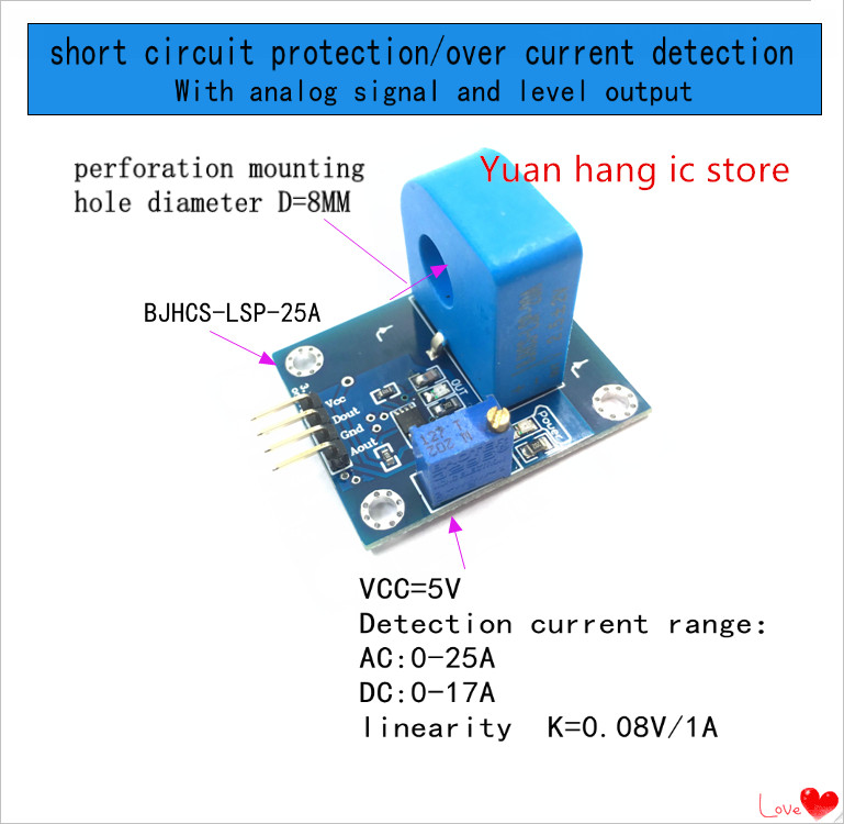 BJHCS LSP BJHCS LSP 25A overcurrent detection short circuit detection With Analog digital signals Current Rang:0 25A  0.08V/1A Battery Accessories & Charger Accessories     - title=