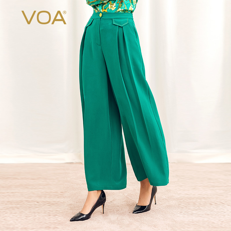 VOA Turquoise Weight Silk Tight Waist Bag Cover Splice Arch Needle Loose Cover Meat Casual Simple Wide Leg Pants Girl K1028