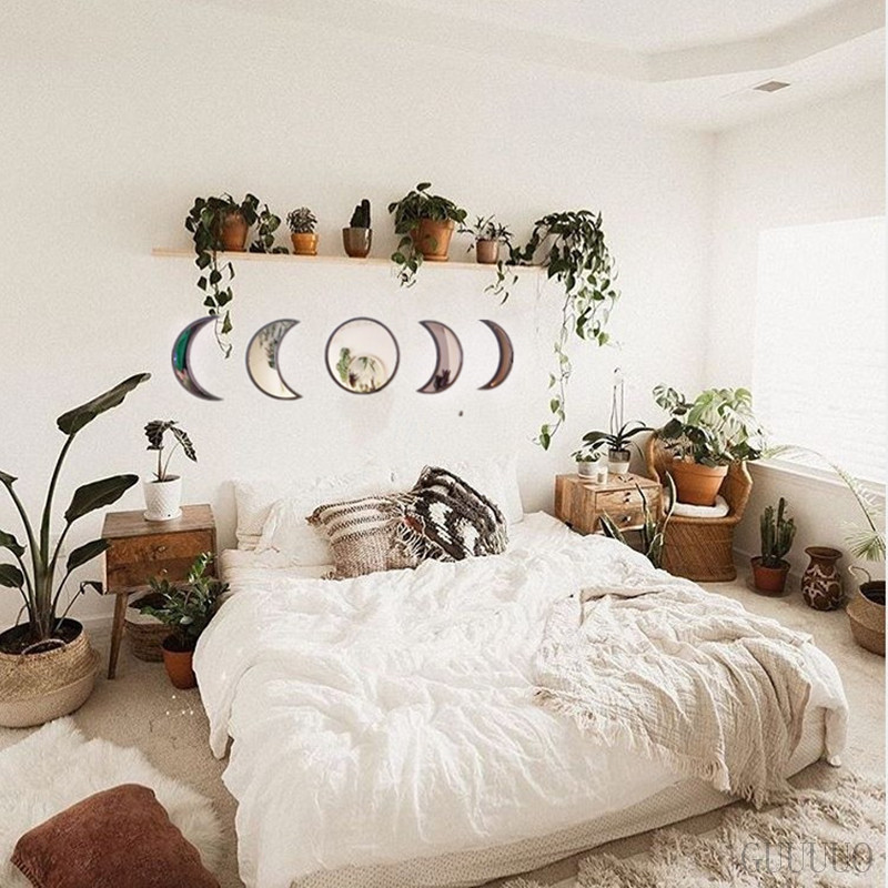 Scandinavian Natural Decor Acrylic Moonphase Mirrors Interior Design Wooden Moon Phase Mirror Bohemian Wall Decoration For Room 4