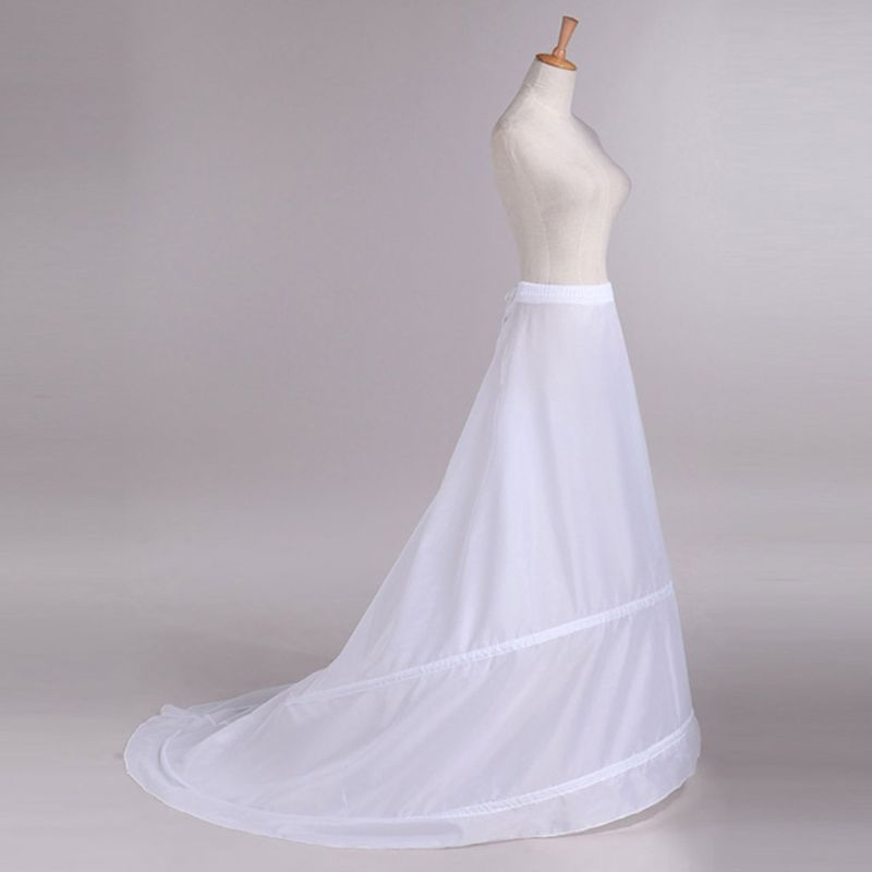 Bride Wedding Dress Trailing Skirt Petticoat Yarnless 2-hoops Elastic Waist Drawstring Adjustable Fishtail Slip Skirts  E15E