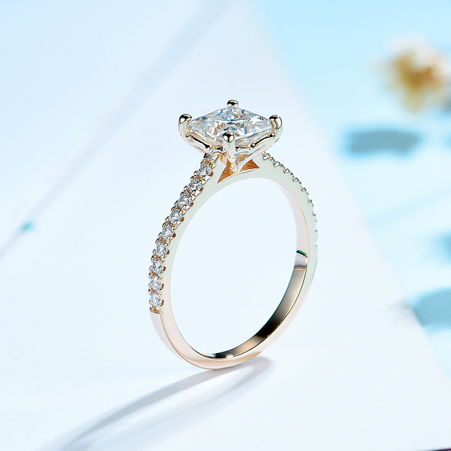 Kuololit 585 14k 10k 1.5ct moissanite anel para as mulheres princesa corte vvs solitaire anel para noivado nupcial promessa aniversário 3