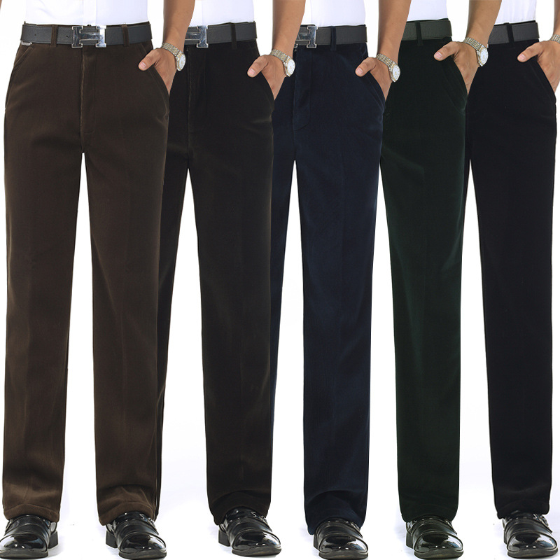 Autumn And Winter MEN'S Pants Middle-aged High-waisted Loose Straight Striped Pants Casual Pants Dad Trousers Autumn