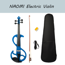 NAOMI Electric Violin 4/4 Full Size Blue Solid Wood Silent Violin with Audio Cable and Rosin for Beginners Adults Teens