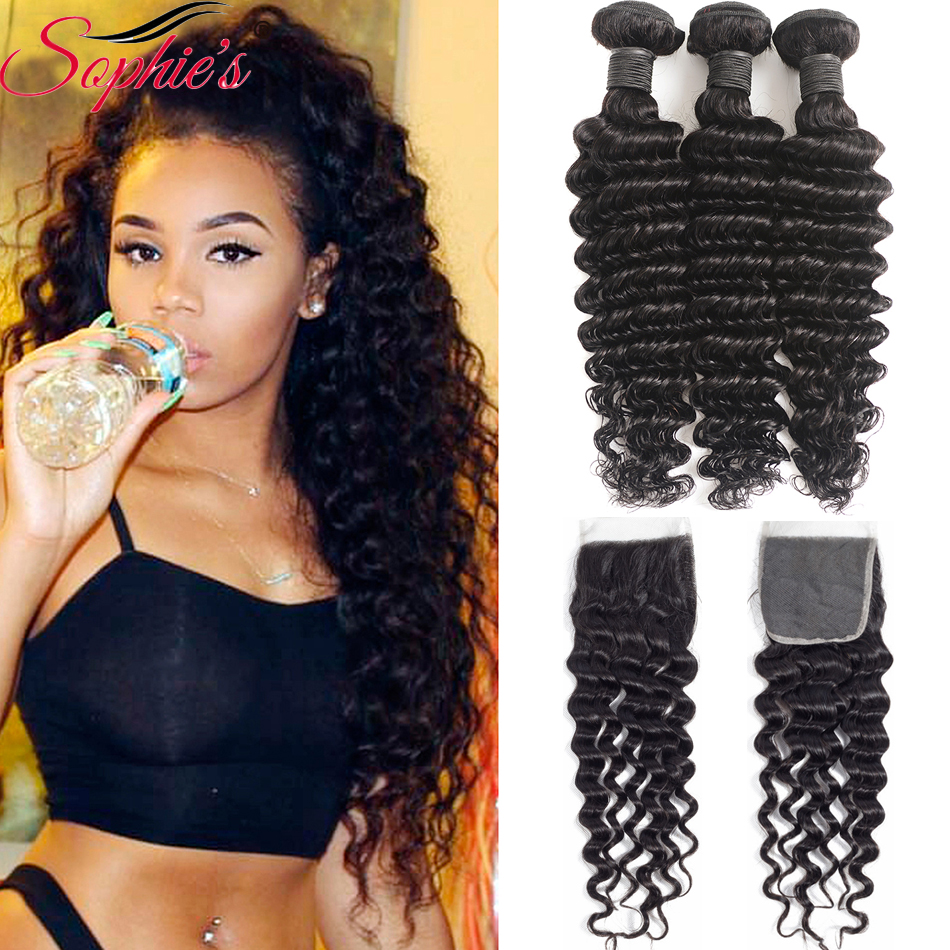 Sophie's Deep Wave Bundles With Closure Brazilian Hair Weave Bundles Non-Remy Human Hair Bundles With Closure Extension