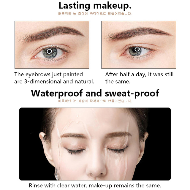 Eye Brow Tint Cosmetics Natural Long Lasting Paint Tattoo Eyebrow Waterproof Black Brown Eyebrow Pencil Makeup Set 2