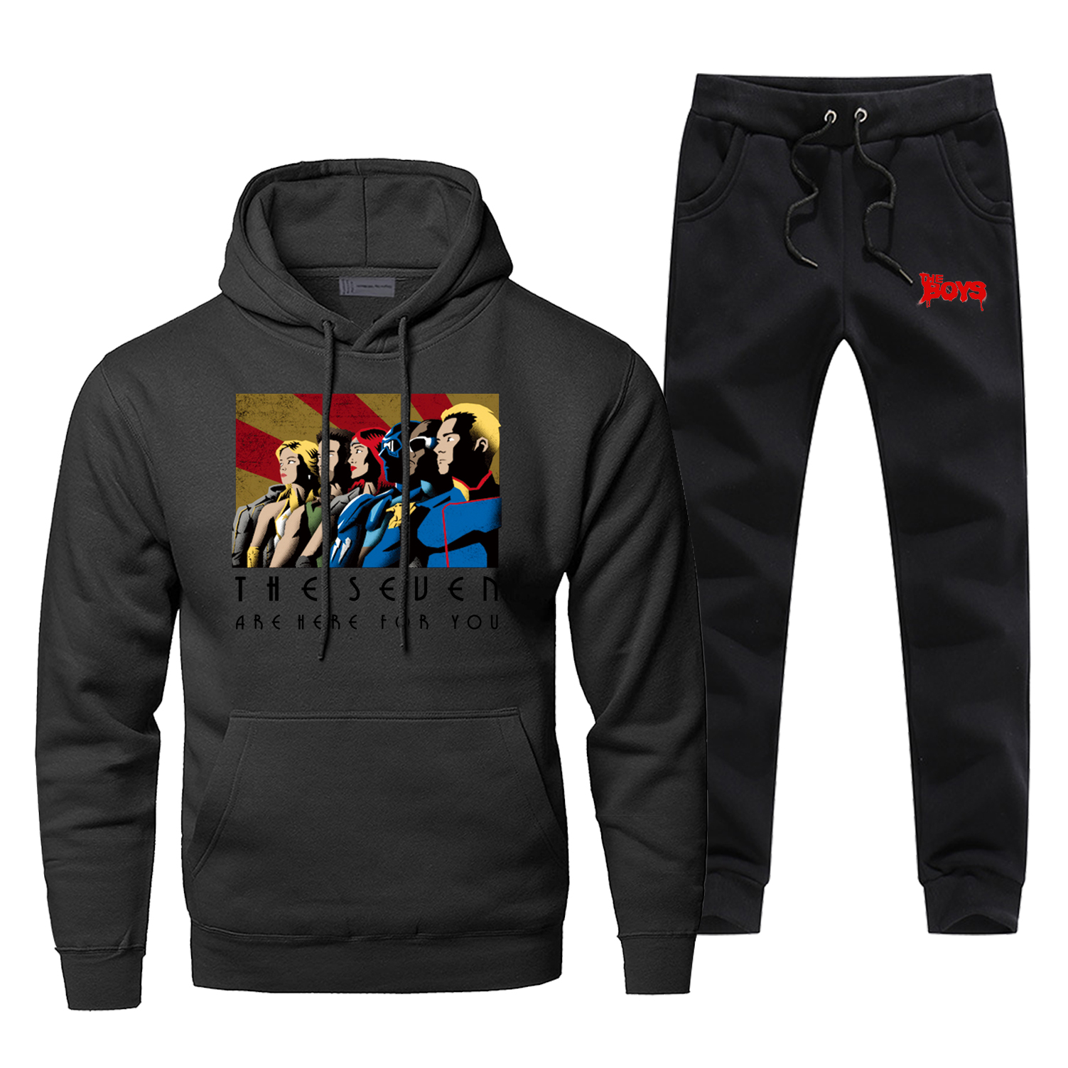 The Boys The Seuen Arehere For You Anime Print Hoodies Pants 2pcs Sets Men Fashion Sweatshirt Winter Fleece Harajuku Streetwear