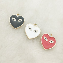 10pcs enamel charm heart eyes charm jewelry accessories earrng pendant bracelet necklace charms 16x18mm(China)