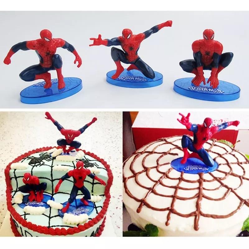 Spider man PVC Doll Toy 7pcs Cake Topper Kids Boy Birthday Gift Spiderman Toys DIY Cake Decoration