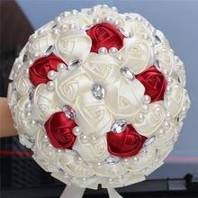 WifeLai A Customizable Ivory Wine Red Bridal Wedding Bouquets Pearls Crystal Silk Flowers Burgundy Bridal Bouquets de noiva W234