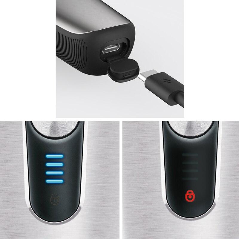 Smate rasoir électrique flottant alternatif hommes lavable USB Rechargeable rasage contrôle intelligent étanche barbe Machine cadeau - 2