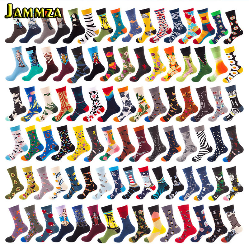 5Pairs/Lot Cotton More Style Vintage Men's Socks Skateboard Fashion Women Funny Cartoon Socks Hiphop Harajuku Print Long Meias