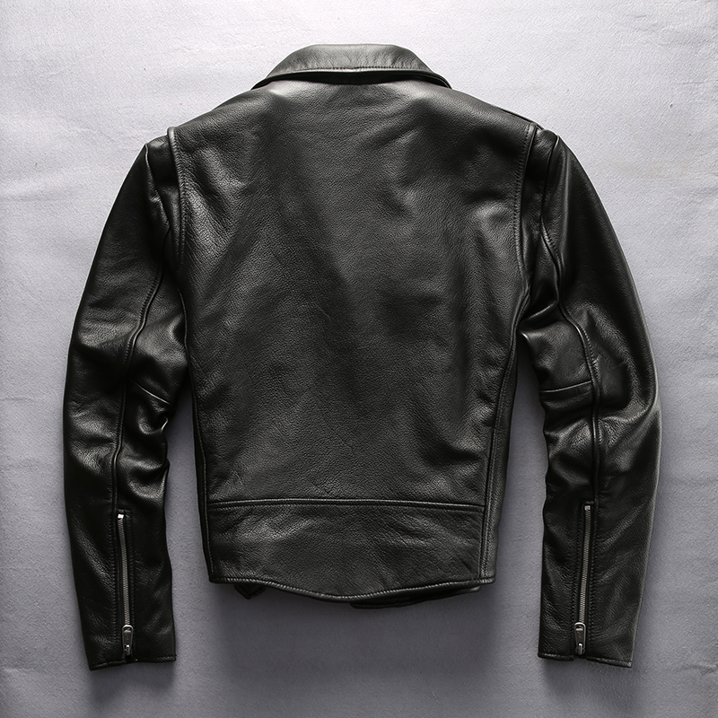 Men's Brand Motorcycle Genuine Diagonal Zipper Cotton Liner Slim Fit Moto Biker Jacket Men Belt Leather Coat Male