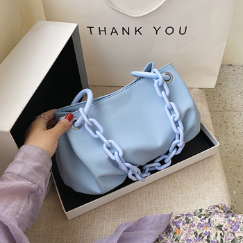 Acrylic Chain Design Small PU Leather  Bags For Women 2020 Simple Solid Color Shoulder Handbags Travel Armpit Bag Hand Bag