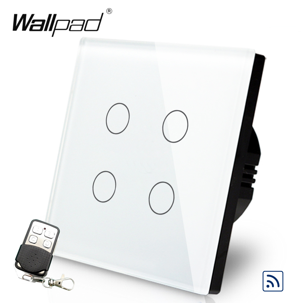 4 Gang Remote 110 V-250 V Wallpad Gehärtetem Glas Touch 4 Gang RF433 UK Fernbedienung Wireless Remote schalter mit Controller