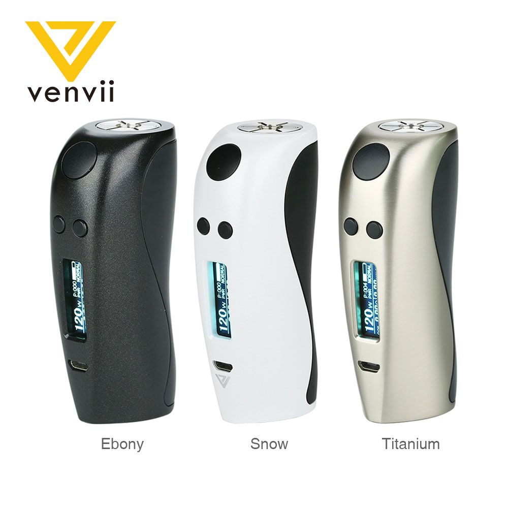Original Venvii Baby Ness 120W TC Box MOD Fit 21700/20700/18650 Battery Ergonomic Design Electronic Cigarette Vape Box Mod E Cig
